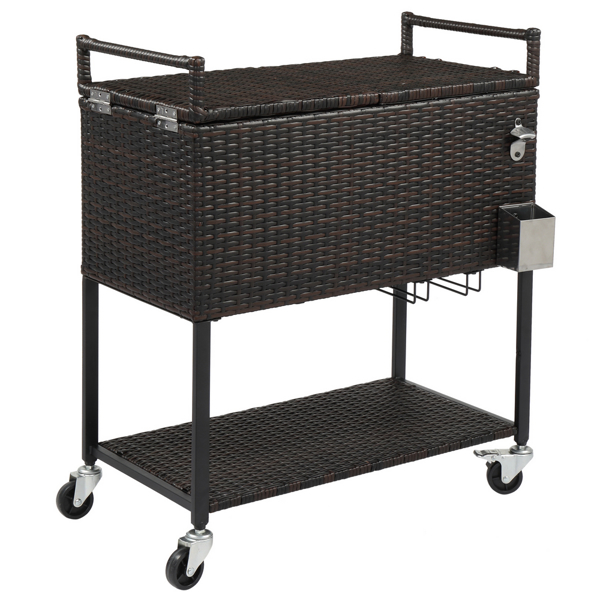 80QT Gradient Rattan With Wine Rack Stainless Steel Panel Drain Pipe Without Foam Freezer Incubator