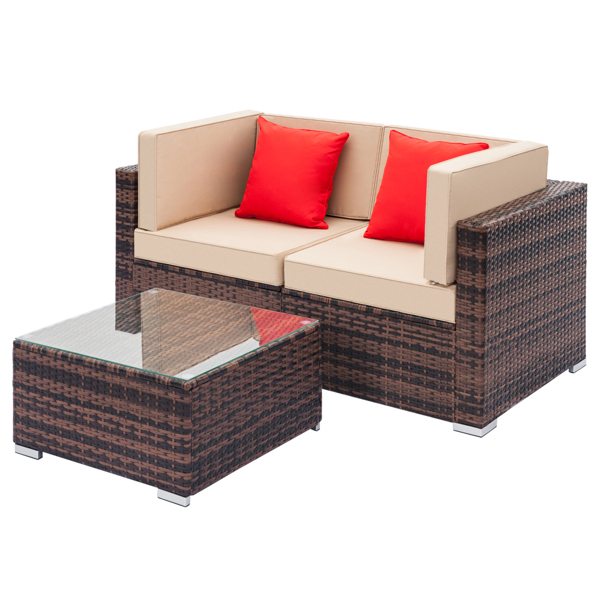 Fully Equipped Weaving Rattan Sofa Set with 2pcs Corner Sofas &  1 pcs Coffee Table Brown Gradient-Left Sofa