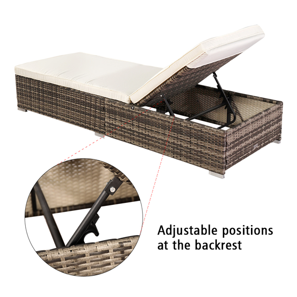 Oshion Outdoor Leisure Rattan Furniture Pool Bed / Chaise (Single Sheet)-Grey