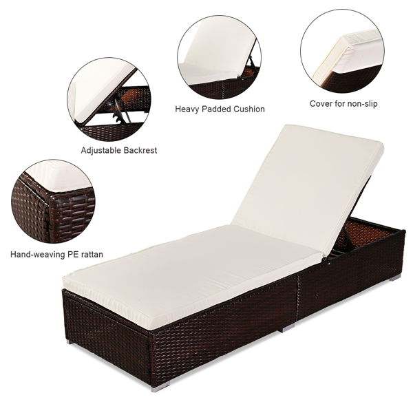 Oshion Outdoor Leisure Rattan Furniture Pool Bed / Chaise (Single Sheet)-Brown