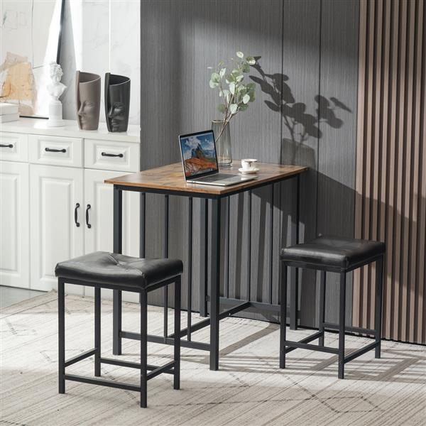 3 Piece Dining Table Set, Dining Set for 2, Wooden Table and 2 Stools, Wooden & Black