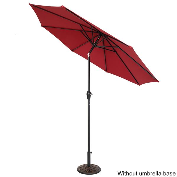 9FT Central Umbrella Waterproof Folding Sunshade Wine Red(Resin Baseis not included, and 75690825、65010574、94617980、53133242 codes are required for the resin base)
