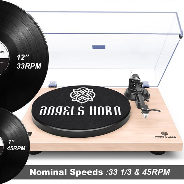 ANGELSHORN Record Player Turntable with Built-in Phono Preamp and Belt Drive, White Maple Wood