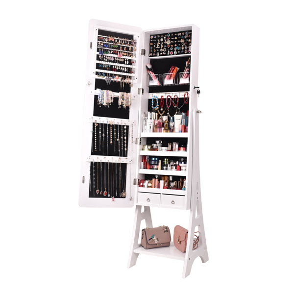 Full Mirror Makeup Mirror Cabinet 2-Pull 4-Layer Storage Cabinet Can Be Placed On The Base Of The Floor, Painted Jewelry Mirror Cabinet White 关键字