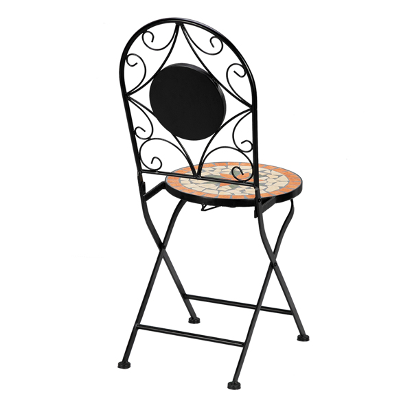 Artisasset Ceramic Inlaid Maple Leaf Shape Mosaic Table And Chair Set - 2 Chair (only chair)