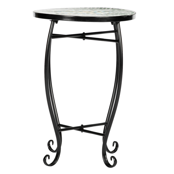 Artisasset Mosaic Round Terrace Bistro Table With Coloured Glass Green Flowers Mosaic