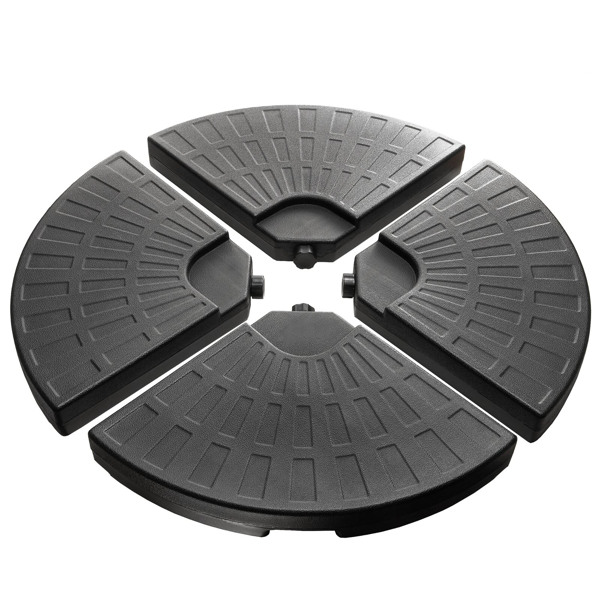 Outdoor Plastic Free Standing Umbrella Base Set,4 piece Black Umbrella Circular Base suit,UV Stability ,Easy Water or Sand Filled Base With Convenient Carry Handle