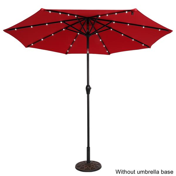 9FT Light Umbrella Waterproof Folding Sunshade Wine Red(Resin Baseis not included, and 75690825、65010574、94617980、53133242 codes are required for the resin base)