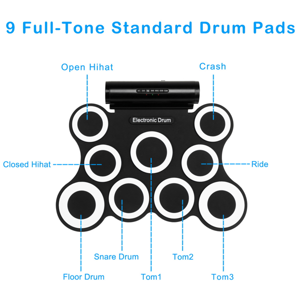 9 Pads Electronic Drum Set with Headphone Jack, Built in Speaker, Drum Stick, Foot Pedals, Best Gift for Holiday Birthday Black & White