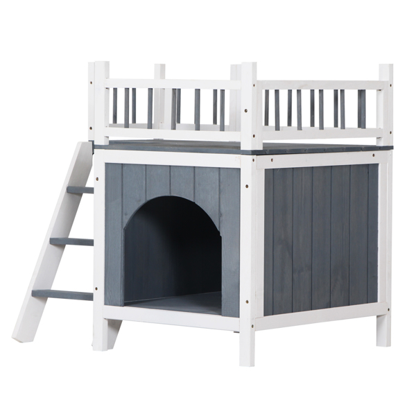Pet Wooden Cat House Living House Kennel with Balcony Grey