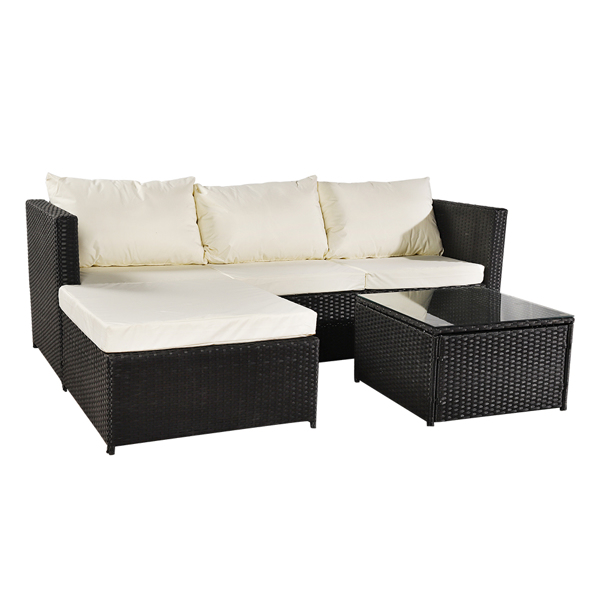 Oshion Three-piece Conjoined Sofa Pedal Coffee Table Black  (Combination of 2 Boxes)