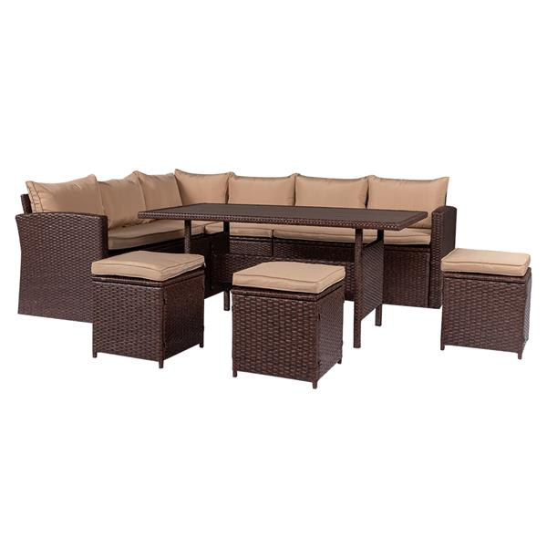 Eight-Piece Set Outdoor Rattan Dining Table And Chair Brown Wood Grain Rattan Khaki Cushion Plastic Wood Surface Package-1 (4 Boxes   In Total)
