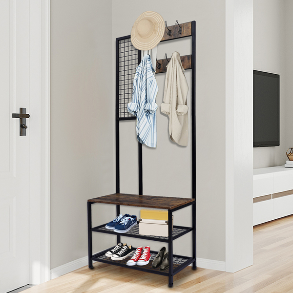 3 in 1 Industrial Coat Rack, Hall Tree Entryway Shoe Bench, Storage Shelf Organizer, Accent Furniture with Metal Frame