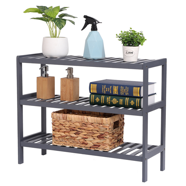 100% Bamboo Shoe Rack Bench, Shoe Storage, 3-Layer Multi-Functional Cell Shelf, Can Be Used For Entrance Corridor, Bathroom, Living Room And Corridor 70 * 25 * 55 - Grey