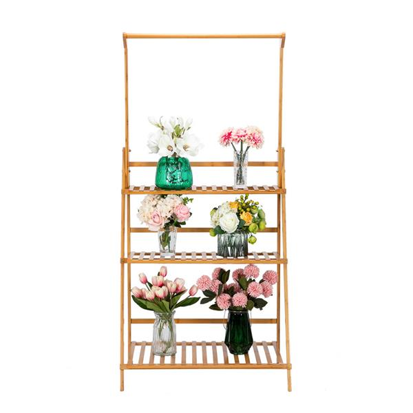 100% Bamboo Plant Frame Three Layers, Balcony Bamboo Frame Folding With Hanging Rod Flower Frame, Indoor Office Balcony, Living Room, Outdoor Garden Decoration--Natural