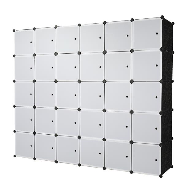 30 Cube Organizer Stackable Plastic Cube Storage Shelves Design Multifunctional Modular Closet Cabinet with Hanging Rod White Doors and Black Panels