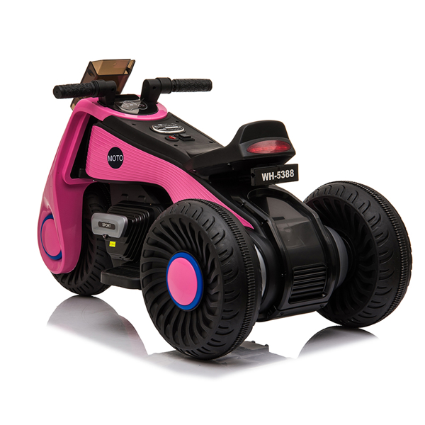 Children's Electric Motorcycle 3 Wheels Double Drive Pink