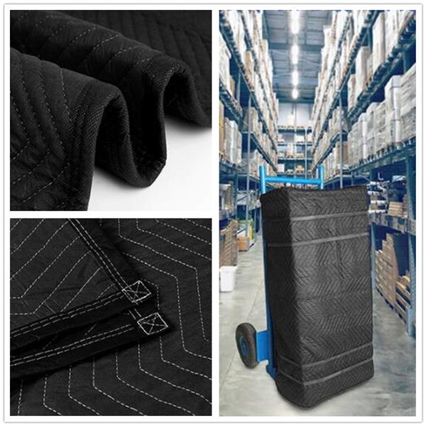 Oshion 12-Pack 80 x 72 inch Moving Blankets, Heavy Duty Moving Pads for Protecting Furniture, Professional Quilted Shipping Furniture Pads, Black