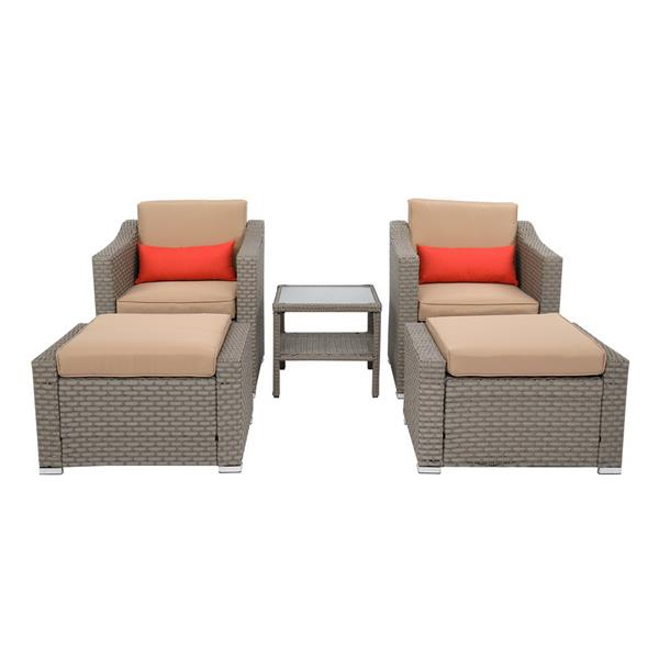 Wide Rattan Double Contiguous Rattan Five-Piece Suit 2 Single 2 Pedals 1 Double Coffee Table Gray
