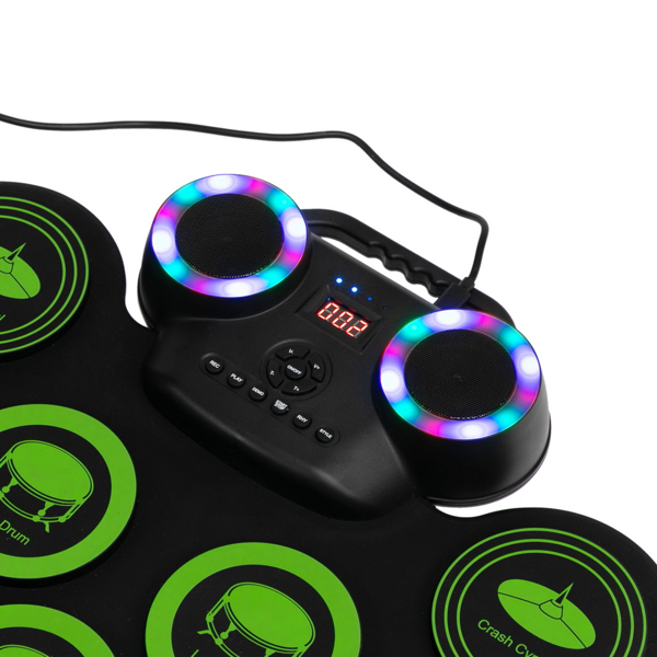 9 Pads Electronic Drum Set Portable Drum Bluetooth Practice Drum Pad,  Drum Kit with Built-in Dual Speakers and Headphone Jack for Beginner and Children Green