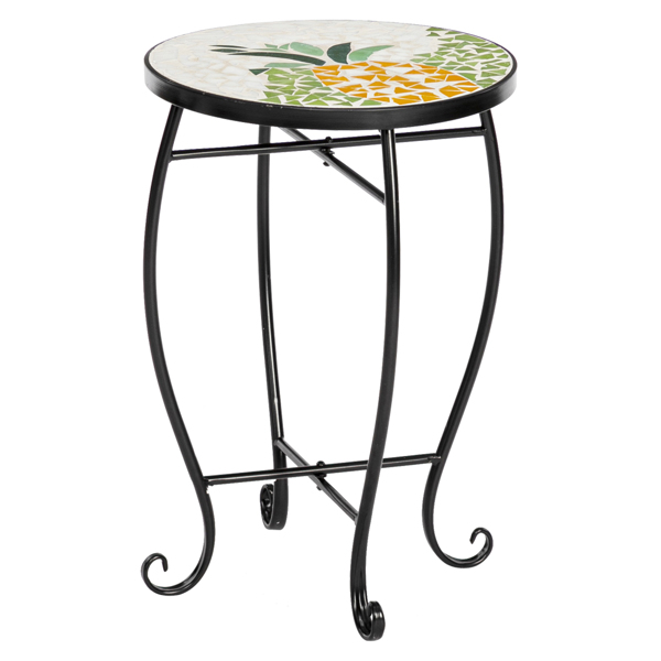 Artisasset Inlaid Mosaic Round Terrace Bistro Tables Inlaid With Color Glass Pineapple Pattern
