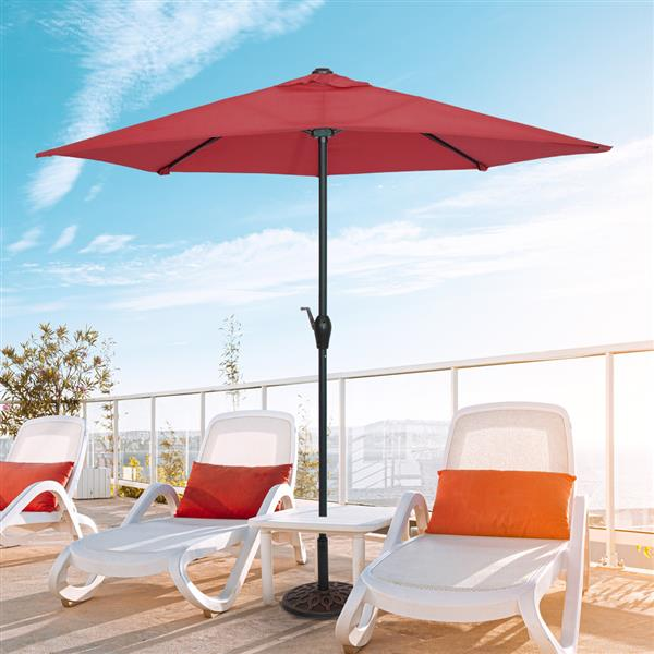 9FT Half Umbrella Waterproof Folding Sunshade Wine Red(Resin Baseis not included, and 75690825、65010574、94617980、53133242 codes are required for the resin base)