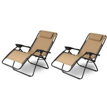 2pcs Plum Blossom Lock Portable Folding Chairs with Saucer Khaki
