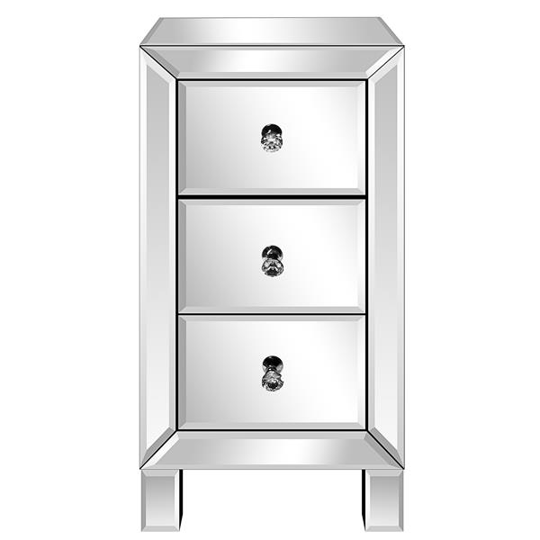 Modern and Contemporary Mirrored 3-Drawers Nightstand Bedside Table