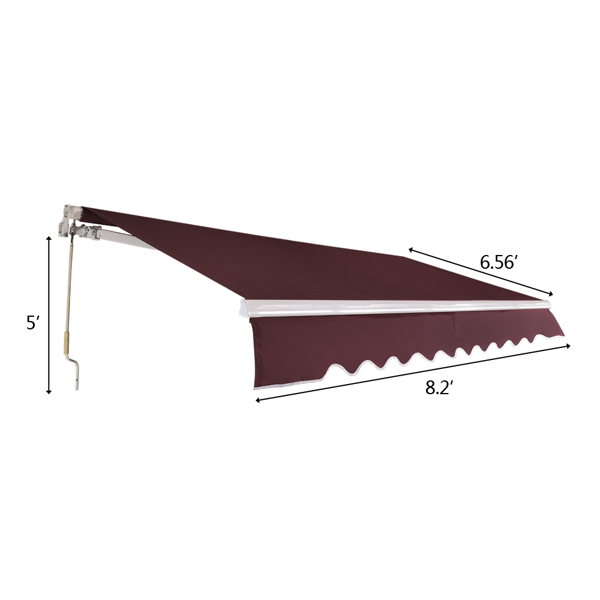2.5x2 m Retractable Awning Wine Red