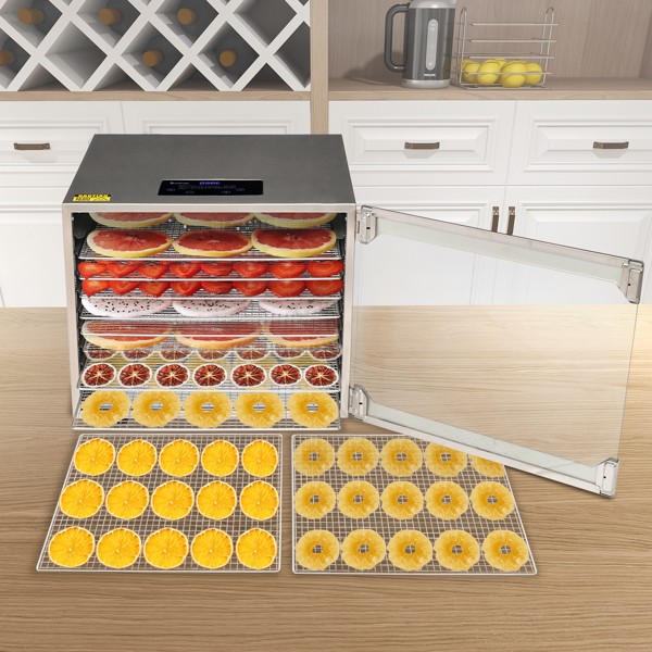 ZOKOP Food Dehydrator Large Drying Capacity with 10pcs Movable Trays, Temperature Time Adjustable, Height Adjustable, Fruit Dryer Meat Jerky Herbs BPA-Free
