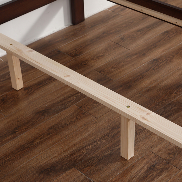 Pine Horizontal Plank Bed Walnut Color 4FT6