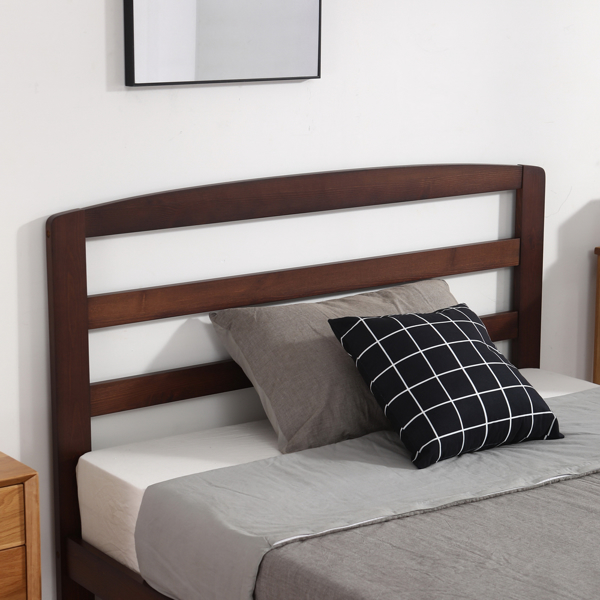Pine Horizontal Plank Bed Walnut Color 5FT