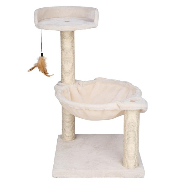 """28"""" Cat Tree Cradle Bed with Natural Sisal Scratching Posts White"""