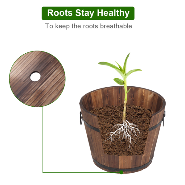 Outdoor Reinforced  And  Anticorrosive Wooden Pot Set Of Three