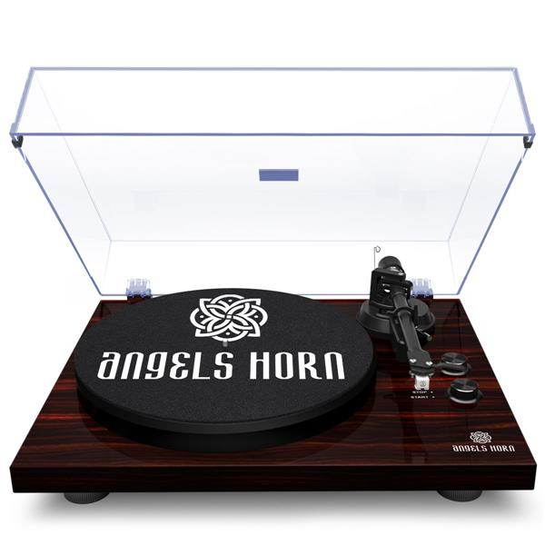 ANGELSHORN Bluetooth Turntable Stereo Record Player with Built-in 2-Speed Phono Preamp and Belt Drive, Mahogany Wood …