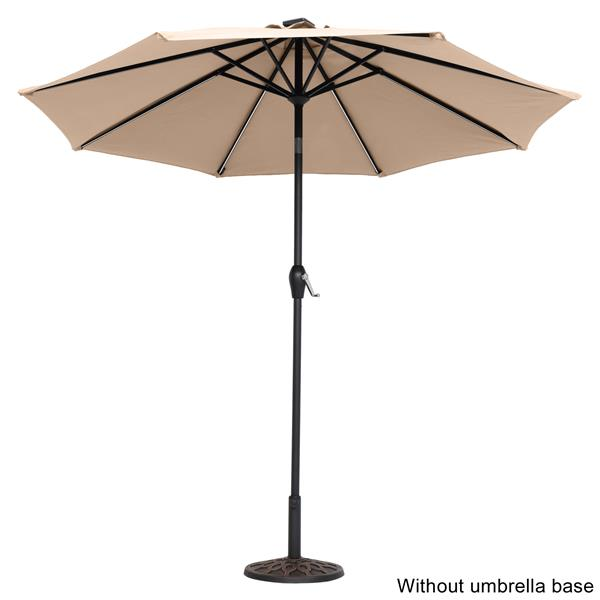9FT Strip Light Umbrella Waterproof Folding Sunshade Top Color(Resin Baseis not included, and 75690825、65010574、94617980、53133242 codes are required for the resin base)