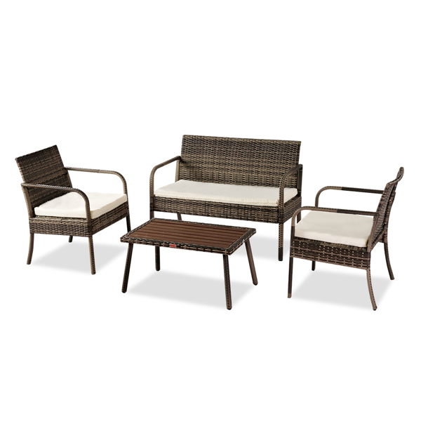 OSHION Outdoor Leisure Rattan Furniture Rattan Chair Small Four-piece Coffee Table Solid Wood Coffee Table-Grey