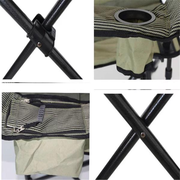 Oversized Camping Chair with Cooler Bag Folding Camping Portable Chair Steel Frame Collapsible Support 350 lbs Net Weight 11lbs