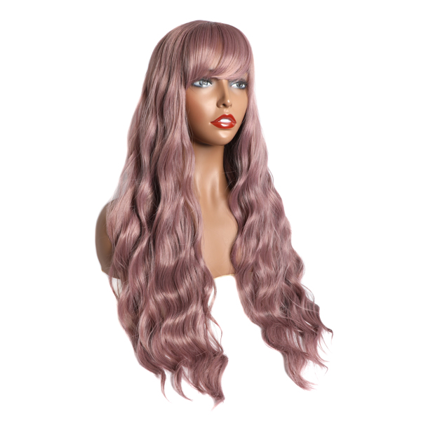 Long Wavy Wig With Air Bangs Silky Full Heat Resistant Synthetic Wig for Women - Natural Looking Machine Made Grey Pink 26 inch Hair Replacement Wig for Party Cosplay Body Wavy (Pink)
