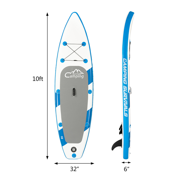 10 Feet Paddle Board Inflatable Surfboard Blue and White