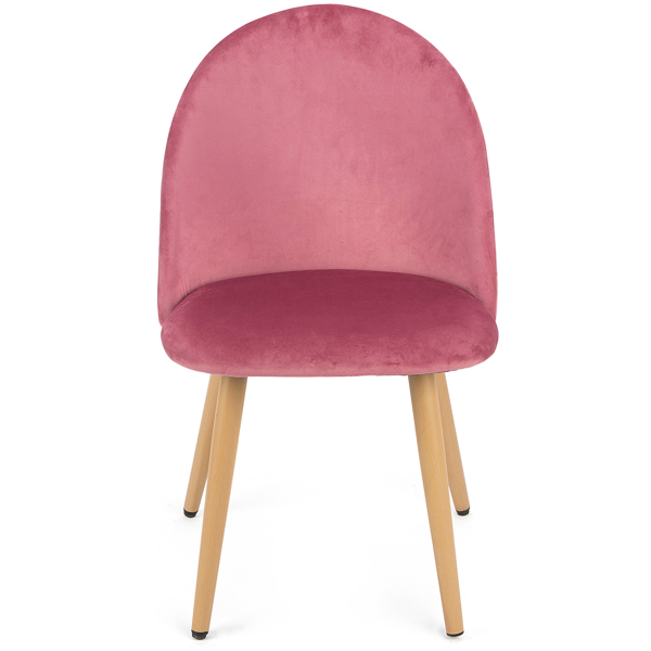 Set of 2 Exquisite Velvet Dining Chair, Kitchen/Bedroom/Lounge Chair with Metal Wood Grain Color Legs, Pink