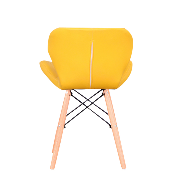 Set of 4 Exquisite Modern Ergonomic Design PU Dining Chair with Natural Beech Wood Legs for Dining Room, Office, Living Room, Kitchen, Yellow