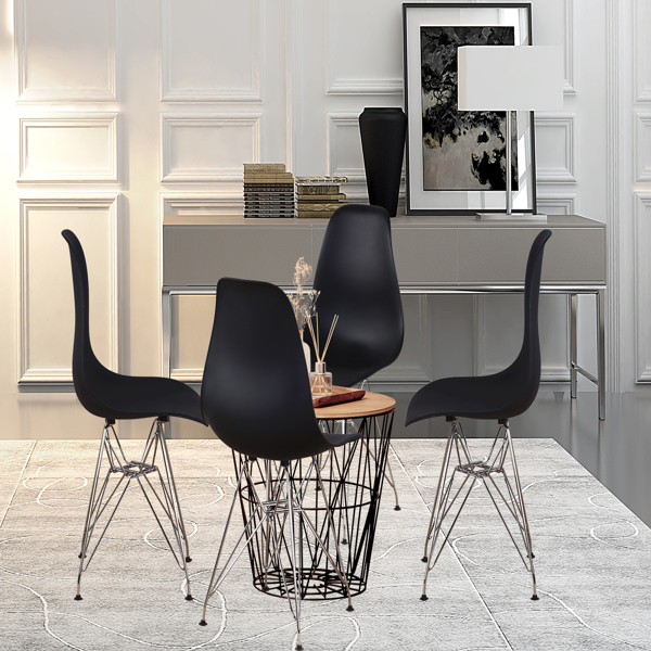 Set of 4 Modern Design Dining Chair with Chrome Metal Legs, Nordic Style Exquisite Design Chair for Living room, Office, Study, Bedroom, Black
