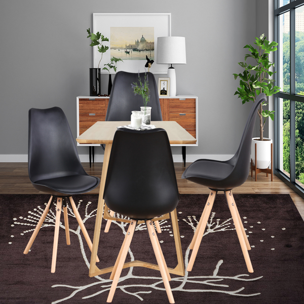 EDLMH Set of 4, Linen/Velvet Fabric/ABS PP Nordic Dining Chair with Beech Wood Legs for Dining Room, Living Room, Office, Bedroom, Black