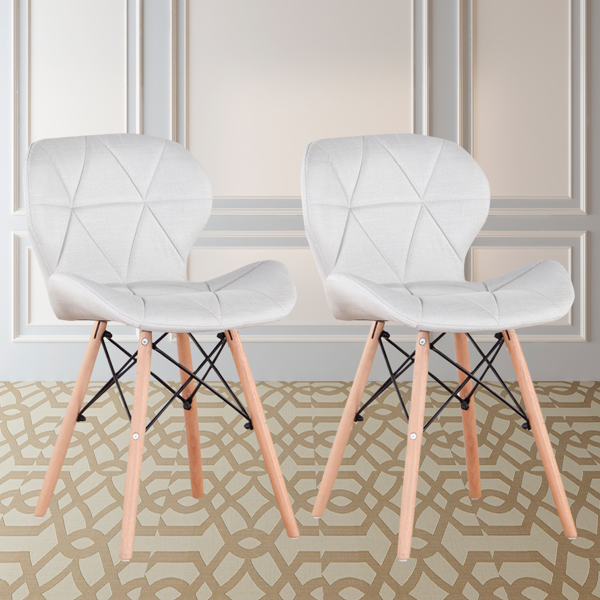 Set of 4 Exquisite Modern Ergonomic Design Dining Linen Chair with Natural Beech Wood Legs for Dining Room, Office, Living Room, Kitchen, Creamy White