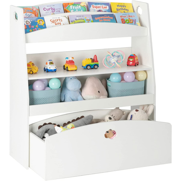 Kids Toy Storage and Bookshelf, 4 Shelves and One Large Rolling Bin w/Wheels, Children's Toy and Book Organizer Cabinet Unit for Playroom, Reading Nook, Toddler's Room, Nursery, White