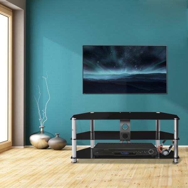LEADZM 60 inch Simple three-layer TV Cabinet with Cable Back Panel Black