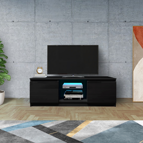 TV Cabinet Wholesale, Black TV Stand with Lights, Modern LED TV Cabinet with Storage Drawers, Living Room Entertainment Center Media Console Table