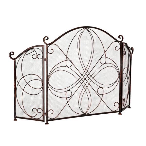 Artisasset Two-Fold Red-Brown With Corners Retro Old Pattern Grill Living Room Decoration Iron Fireplace Screen