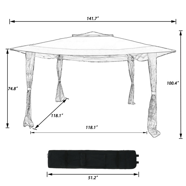 Outdoor 12x12Ft Pop Up Gazebo Tent, Suitable for Patio And Garden, With 140 Square Feet Of Shade, Portable With Carry Bag And Counterweight Sandbags-Brown